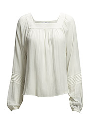 Cotton-blend textured blouse - Natural white
