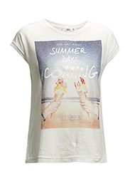 Printed linen-blend t-shirt - Natural white