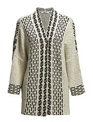 Jacquard cotton cardigan - Light beige