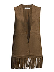 Fringed vest - Dark brown