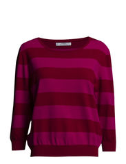Fine-knit striped sweater - Bright pink