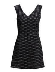 Neoprene-effect polka-dot dress - Black