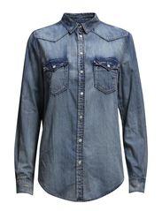 Light wash denim shirt - Open blue