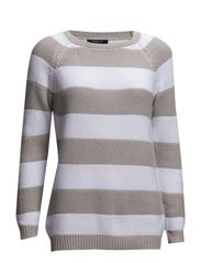 Striped cotton sweater - Lt pastel grey
