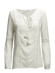 Openwork trim blouse - Natural white