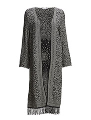 Fringed printed caftan - Black