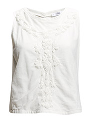 Embroidered mesh top - Natural white