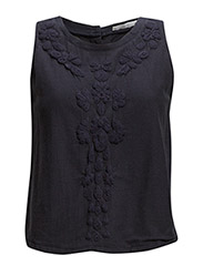 Embroidered mesh top - Navy