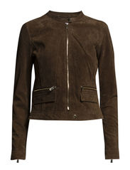 Zipped peccary jacket - Dark brown