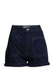 High-waist denim shorts - Open blue