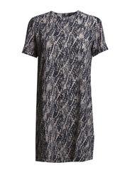 Printed crepe dress - Natural white