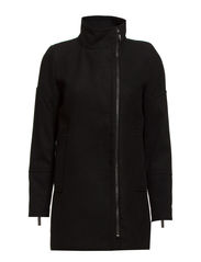 Funnel neck coat - Black