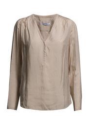 V-neckline blouse - Lt pastel brown