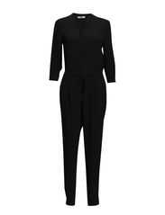 Chest-pocket long jumpsuit - Black