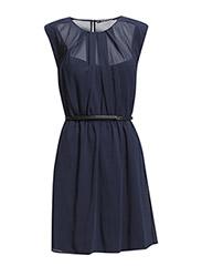 Contrast belt dress - Dark blue