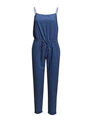 Strap linen-blend jumpsuit - Medium blue