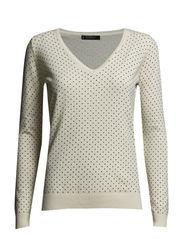 Polka-dot cotton-blend sweater - Natural white