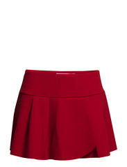 Neoprene-effect fluted-hem skirt - Dark orange