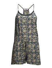 Printed short jumpsuit - Medium blue