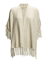 Fringe detail cape - Light beige