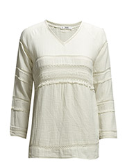 Fringed cotton blouse - Natural white