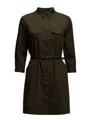 Belted-waist shirt dress - Dark green