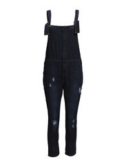 Dark denim dungarees - Open blue