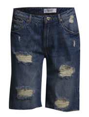 Boyfriend denim bermuda - Open blue