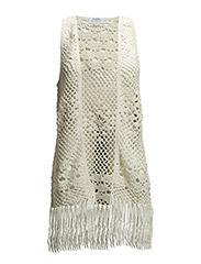 Fringed crochet vest - Natural white