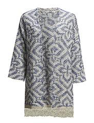 Fringed jacquard kimono - Medium blue