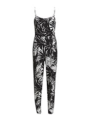 Palm print jumpsuit - White