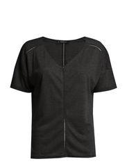 Openwork trim t-shirt - Dark grey