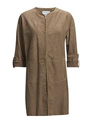 Long suede jacket - Dark brown