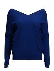 V-neckline sweater - Medium blue