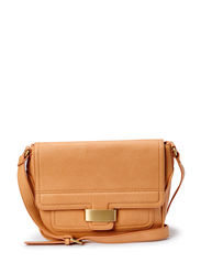 Pebbled cross-body bag - Medium brown