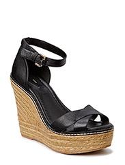 Esparto leather sandals - Black