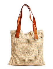Raffia shopper bag - Medium brown