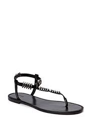 Metal-bead leather sandals - Black