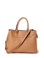 Pebbled tote bag - Lt pastel brown