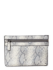 Snake-effect zip clutch - Light beige