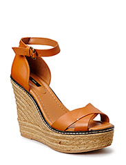 Esparto leather sandals - Medium brown