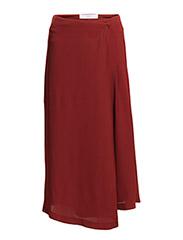 PREMIUM - Flowy wrapped skirt - Dark red