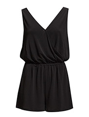 Wrap v-neckline jumpsuit - Black