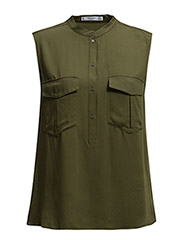 Chest-pocket flowy blouse - Beige - khaki