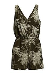 Printed short jumpsuit - Beige - khaki