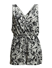 Printed short jumpsuit - Natural white