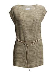 PREMIUM - Striped linen-blend top - Beige - khaki