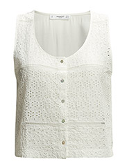 Embroidered openwork blouse - Natural white