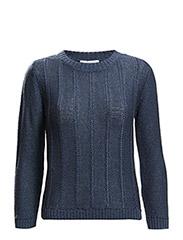 Mixed knit sweater - Navy