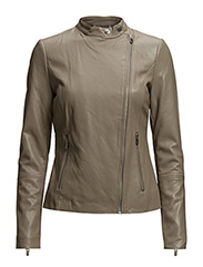 Zipped biker jacket - MEDIUM BROWN